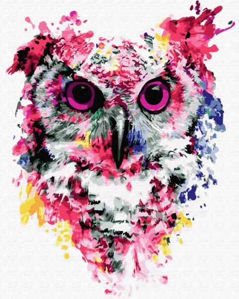 Фото Картины на холсте по номерам, Животные. Птицы. Рыбы... KGX 26136 Сова в красках Картина по номерам на холсте 40х50см