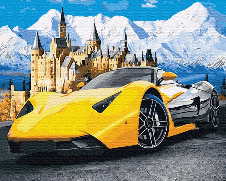 Фото Картины на холсте по номерам, Городской пейзаж GX 28723 Жёлтое авто Картина по номерам на холсте 40х50см без коробки, в пакете