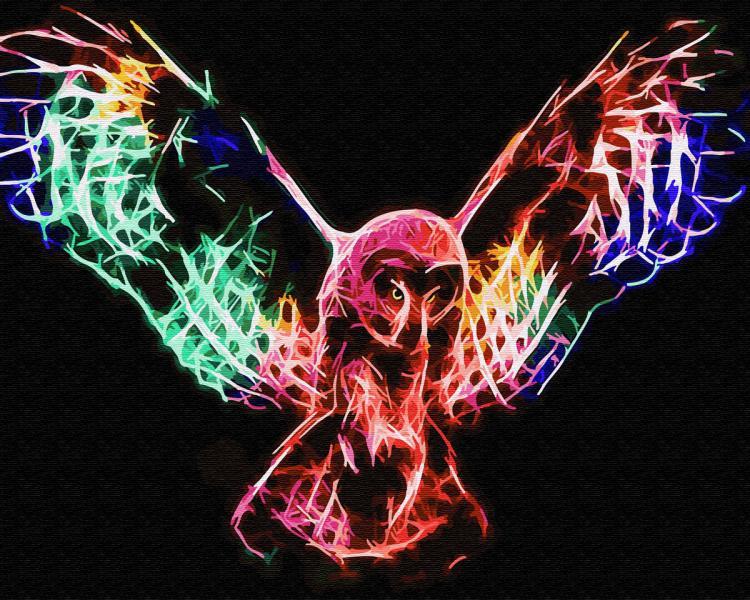Фото Картины на холсте по номерам, Животные. Птицы. Рыбы... KGX 31172 Неоновая сова в полёте Картина по номерам на холсте 40х50см