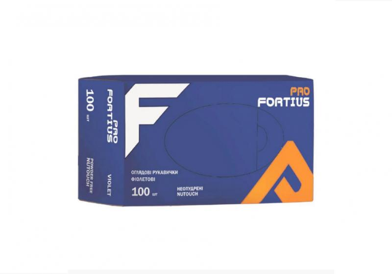 Перчатки FORTIUS PRO  нитриловые неопудреные S/M (100шт)