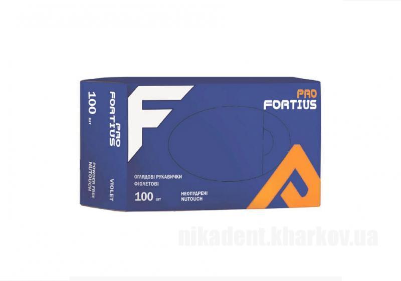 Фото Для стоматологических клиник, Расходные материалы Перчатки FORTIUS PRO  нитриловые неопудреные S/M (100шт)