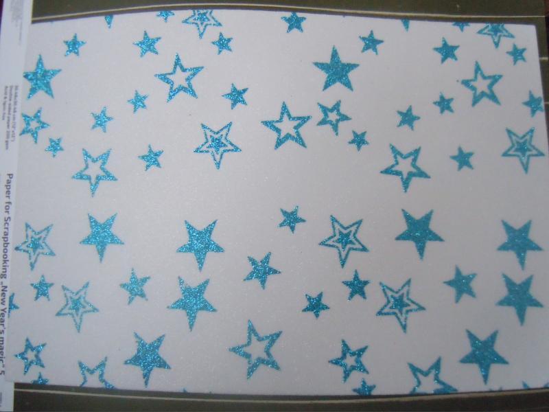 Фото Новинки Фом  20 * 30 см.  Белый  с  глитером  и  с глитерными  Голубыми  звёздочками  ( без клеевой основы ) толщина 2 мм.