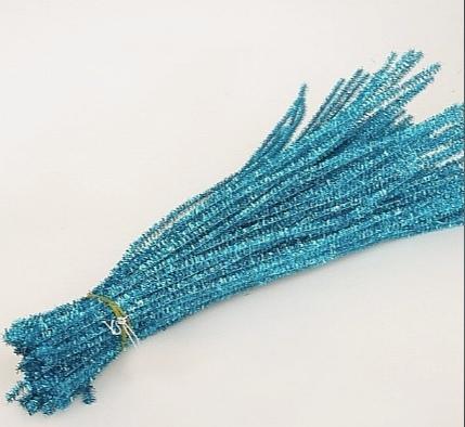 Фото Проволока синельная ,бижутерная, флористическая Блестящая  синельная  проволока для декора  светло - Голубого  цвета.  Длина палочки - 30 см.