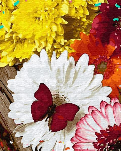 Фото Картины на холсте по номерам, Букеты, Цветы, Натюрморты KGX 32864 Бабочка на герберах Картина по номерам на холсте 40х50см