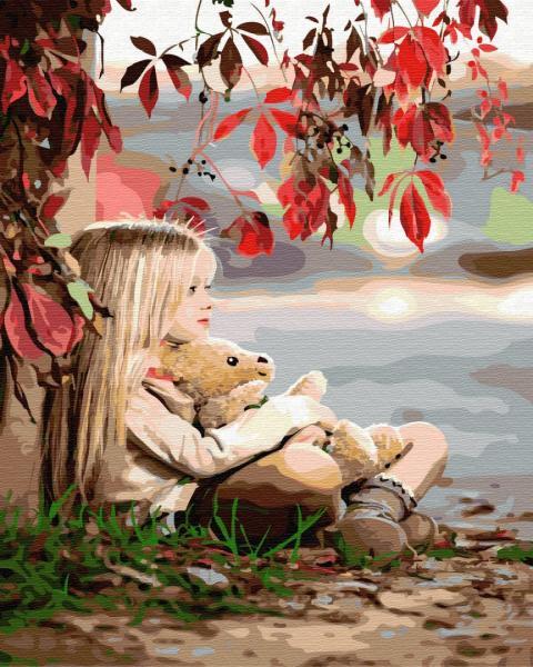 Фото Картины на холсте по номерам, Дети на картине GX 33051 Девочка с медвежонком Картина по номерам на холсте 40х50см, без коробки