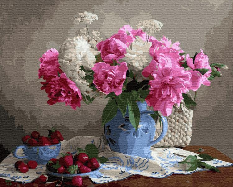 Фото Картины на холсте по номерам, Картины  в пакете (без коробки) 50х40см; 40х40см; 40х30см, Цветы, букеты, натюрморты GX 33762 Пионы с ягодами Картина по номерам на холсте 40х50см, без коробки