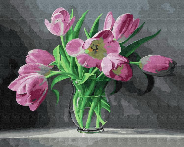 Фото Картины на холсте по номерам, Букеты, Цветы, Натюрморты KGX 33945 Тюльпаны Картина по номерам на холсте 40х50см