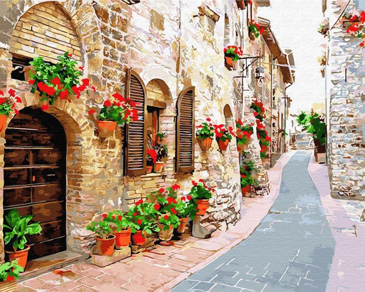 Фото Картины на холсте по номерам, Городской пейзаж GX 34015 Цветочная улица Картина по номерам на холсте 40х50см, без коробки