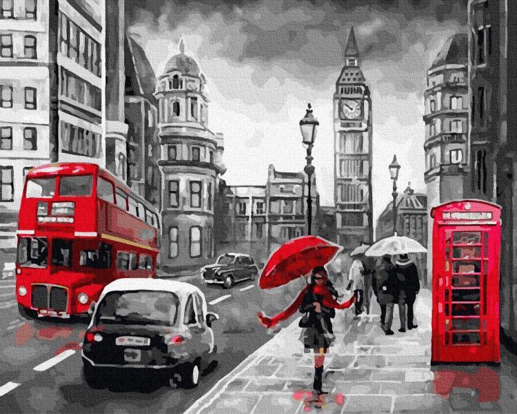 Фото Картины на холсте по номерам, Городской пейзаж GX 34828 Дождливый Лондон Картина по номерам на холсте 40х50см, без коробки