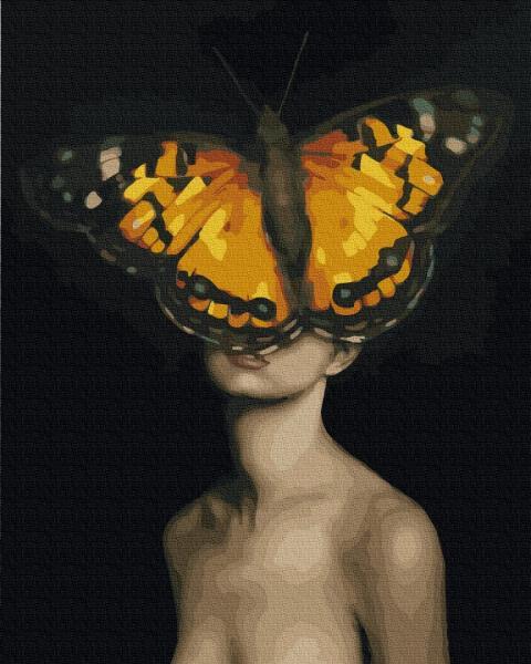 Фото Картины на холсте по номерам, Романтические картины. Люди KGX 36583 Бабочки в моей голове Картина по номерам на холсте 40х50см