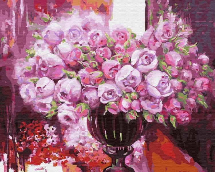 Фото Картины на холсте по номерам, Картины  в пакете (без коробки) 50х40см; 40х40см; 40х30см, Цветы, букеты, натюрморты GX 4641 Фиолетовое сияние в вазе Картина по номерам на холсте 40х50см, без коробки