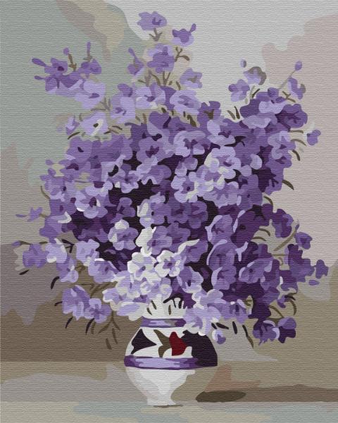 Фото Картины на холсте по номерам, Картины  в пакете (без коробки) 50х40см; 40х40см; 40х30см, Цветы, букеты, натюрморты GX 7332 Фиолетовое цветение Картина по номерам на холсте 40х50см, без коробки