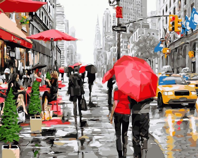 Фото  PGX 8091 Дождь в Нью-Йорке Premium 40x50см