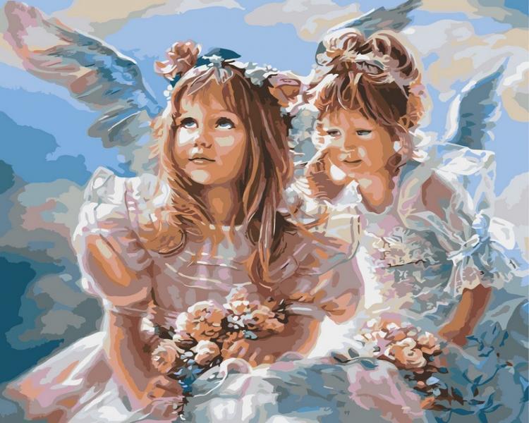 Фото Картины на холсте по номерам, Дети на картине VP 204