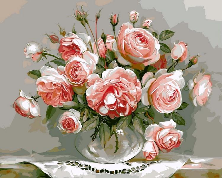 Фото Картины на холсте по номерам, Букеты, Цветы, Натюрморты VP 327