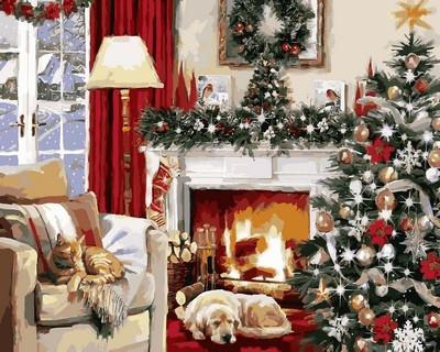 Фото Картины на холсте по номерам, Зима! Новый Год! Рождество! VP787