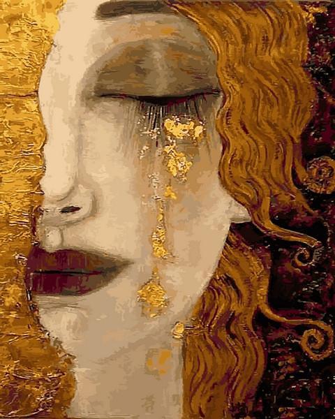 Фото Картины на холсте по номерам, Романтические картины. Люди VP 1189 Золотая леди Роспись по номерам на холсте. 40х50см