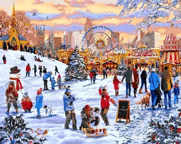 Фото Картины на холсте по номерам, Зима! Новый Год! Рождество! VP 1204 Зимние гуляния Роспись по номерам на холсте. 40х50см