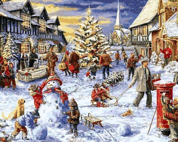 Фото Картины на холсте по номерам, Зима! Новый Год! Рождество! VP 1206 Зимние каникулы Роспись по номерам на холсте. 40х50см
