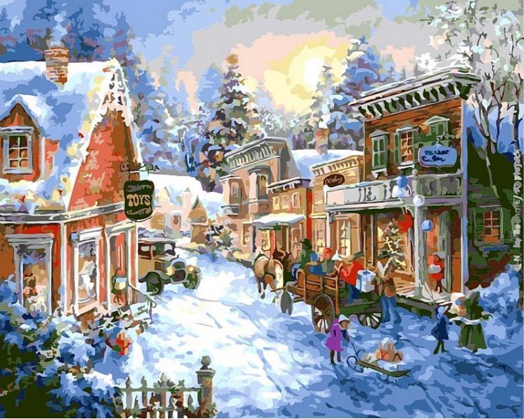 Фото Картины на холсте по номерам, Зима! Новый Год! Рождество! VP 305 В преддверии Рождества  40х50см