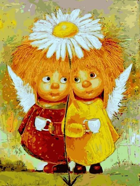 Фото Картины на холсте по номерам, Дети на картине VK 233 Пара солнечных ангелов Картина по номерам на холсте 40x30см