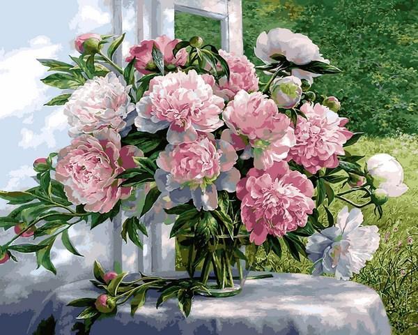 Фото Картины на холсте по номерам, Букеты, Цветы, Натюрморты VP 1259 Букет пионов Картина по номерам на холсте 40х50см