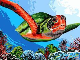Фото Картины на холсте по номерам, Животные. Птицы. Рыбы... VK 236 Зеленая черепаха Картина по номерам на холсте 40x30см