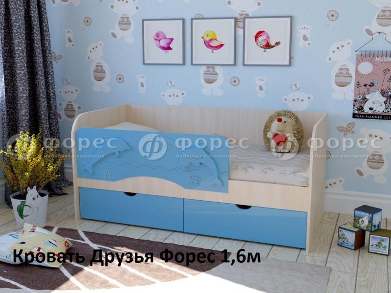 Фото Детская мебель, Детские кровати Кровать Друзья 1,6м МДФ (Форес)