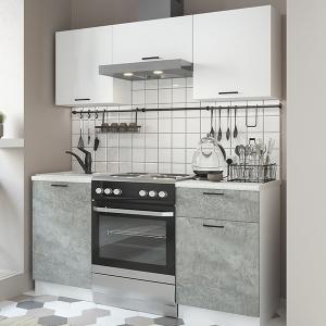 Кухня Дуся 1,6м цемент/белый глянец (ДСВ)