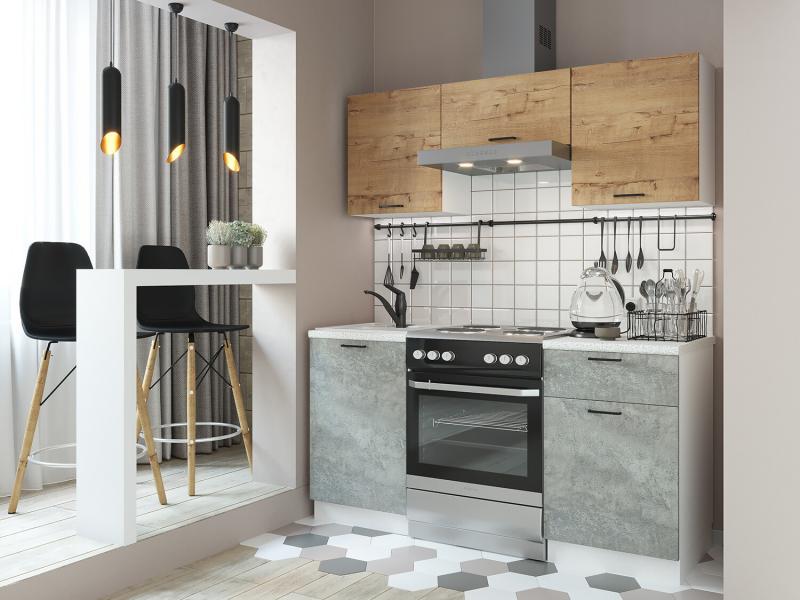 Фото Кухни готовые Кухня Дуся 1,6м цемент/дуб бунратти (ДСВ)