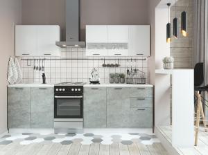 Кухня Дуся 2.0 м цемент/белый глянец (ДСВ)