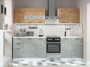 Кухня Дуся 2,0 м цемент/дуб бунратти (ДСВ)