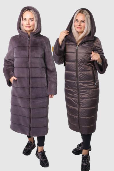 Двухсторонняя искусственная шуба пальто с капюшоном Elafonis JGD99003 56