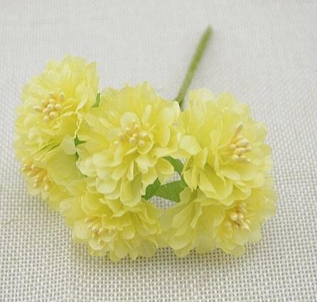 Фото Цветы искусственные, Цветы тканевые Хризантема  из  тонкой  ткани  светло - Жёлтого  цвета ,  цветок  3,5 см.   Упаковка  -  6  цветочков.
