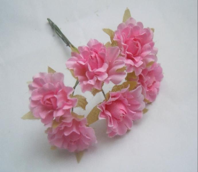 Фото Цветы искусственные, Цветы тканевые Розочка  тканевая   2,8 - 3 см.  на  проволочке  10,5 см.   Упаковка  6 шт.