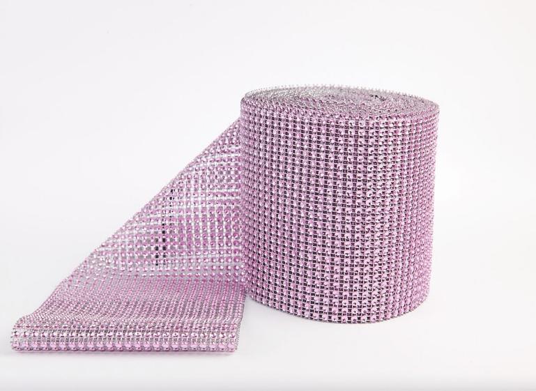 Фото Бусины ,полубусины ,стразы,.цветок.шина, тесьма пластик, Шина Шина  24 ряда камней ,  Розово - сиреневого  цвета . Ширина 11,7 см.