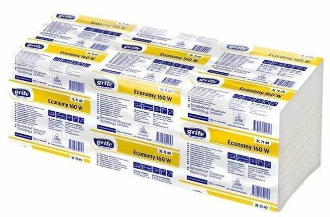 Полотенца бумажные GRITE Economy 250V-сложения, листовые