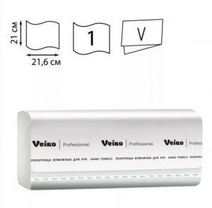 Фото Хозяйственные товары (ЦЕНЫ БЕЗ НДС), Полотенца, простыни бумажные, бумажный протирочный материал Полотенца бумажные Veiro Professional Basic V-сложение (250 шт,уп)