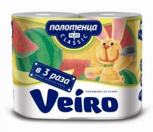 Фото Хозяйственные товары (ЦЕНЫ БЕЗ НДС), Полотенца, простыни бумажные, бумажный протирочный материал Полотенца бумажные Veiro Classic Plus, намотка 27,5 м., 2 рул/уп