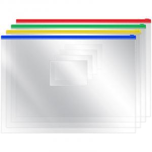 Фото Папки, файлы, планшеты, портфели, сумки (ЦЕНЫ БЕЗ НДС), Папки с прижимами, зажимами, клипами и на пружинах Папка-конверт на молнии OfficeSpace, А4, 120мкм, прозрачная ассорти