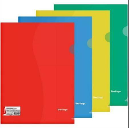 Папка-уголок Berlingo, А4, 180мкм, прозрачная 180 мкм, цвет ассорти