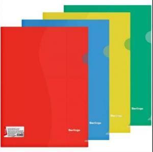 Фото Папки, файлы, планшеты, портфели, сумки (ЦЕНЫ БЕЗ НДС), Папки-уголки Папка-уголок Berlingo, А4, 180мкм, прозрачная 180 мкм, цвет ассорти