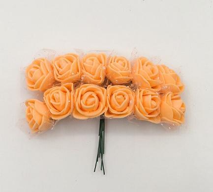 Фото Цветы искусственные, Розочки  латексные  в  ассортименте. Розочка  латексная  2 - 2,2 см ,  Персиково - Оранжевого  цвета  с  фатином.  Упаковка  12 цветочков .