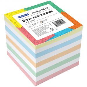 Фото Бумажная продукция (ЦЕНЫ БЕЗ НДС), Бумага для заметок, закладки (стикеры) Блок для записи на склейке OfficeSpace, 8*8*8см, цветной