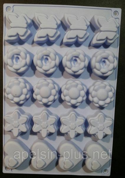 Силиконовая форма для выпечки и десертов Цветы Сердечки Бабочки на 20 ячеек