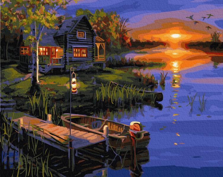 Фото Картины на холсте по номерам, Картины  в пакете (без коробки) 50х40см; 40х40см; 40х30см, Пейзаж, морской пейзаж. GX 5853 Дом у реки Роспись по номерам на холсте 40х50см без коробки, в пакете