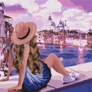 Фото Картины на холсте по номерам, Романтические картины. Люди KH 4742 Розовые мечты 3 Картина по номерам 40х40см