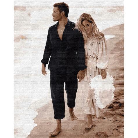 Фото Картины на холсте по номерам, Романтические картины. Люди KH 4750 Свидание на побережье Картина по номерам на холсте 40х50см