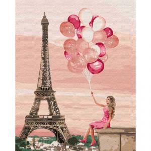 Фото Картины на холсте по номерам, Романтические картины. Люди KH 4761 Лиловые краски Парижа Картина по номерам на холсте 40х50см
