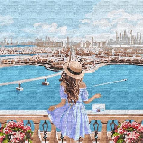 Фото Картины на холсте по номерам, Романтические картины. Люди KH 4768 Любуясь пейзажем Картина по номерам на холсте 40х40см